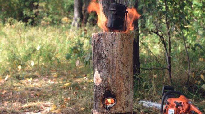 """""""Финская свеча"""" с двумя отверстиями."""