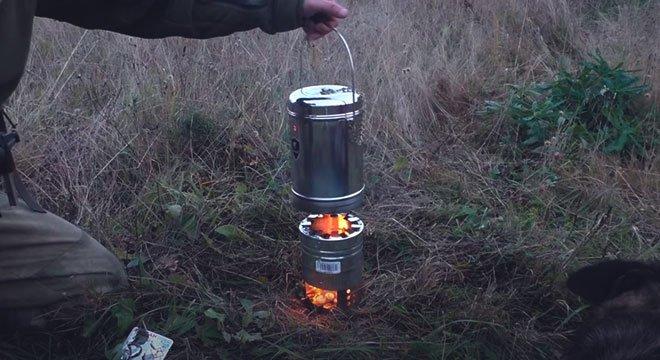 Круглая печь щепочница