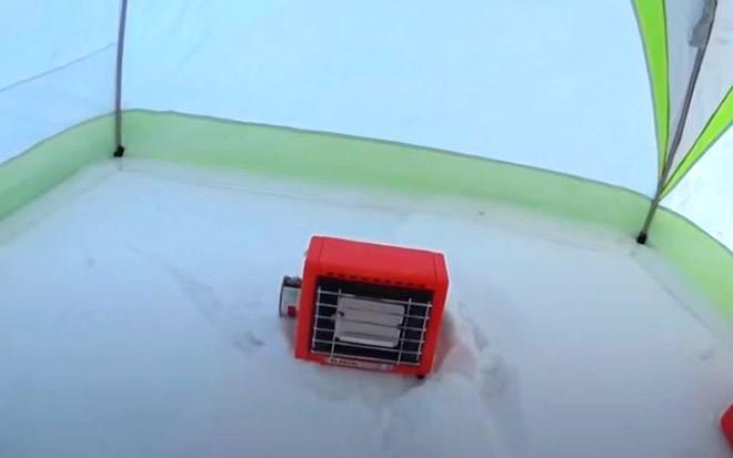 Обогрев палатки инфракрасным газовым обогревателем